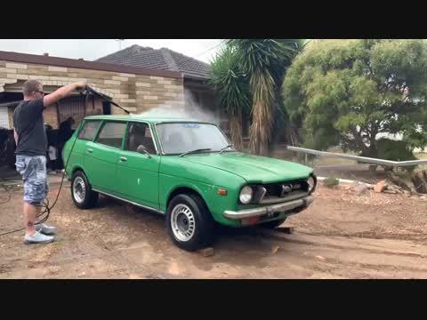 Bath time - 1976 Subaru 4x4 Wagon